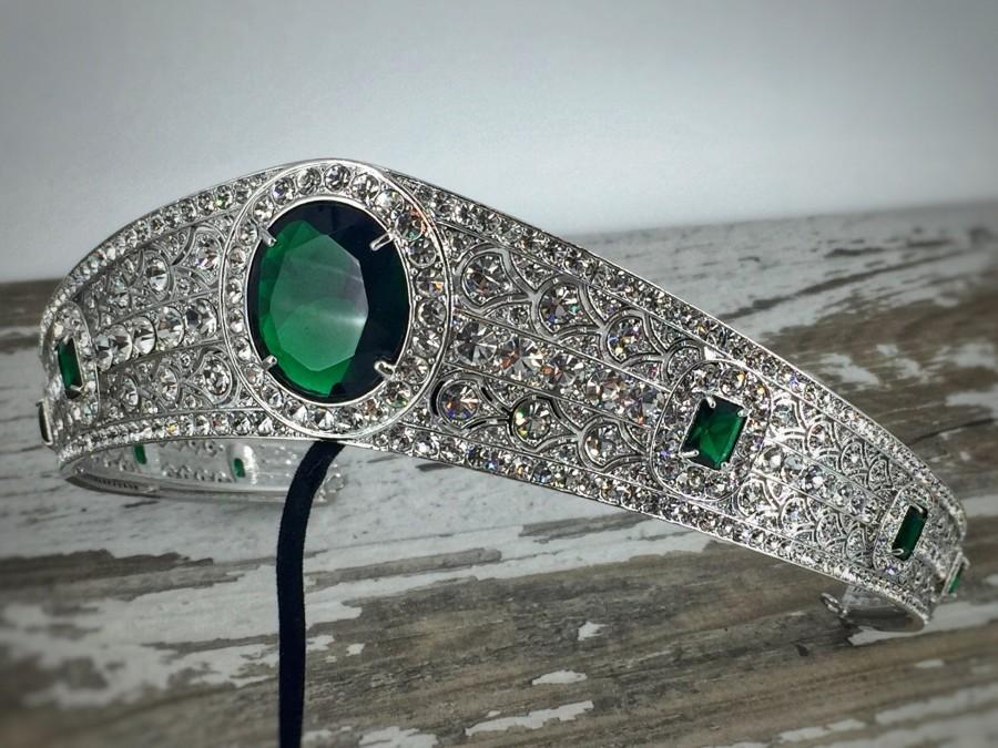 زفاف - Princess Eugenie Swarovski Crystal & AAA  Green Zirconia Tiara , Princess Eugenie Crown , Royal Wedding Tiara , Emerald Tiara, Emerald Crown