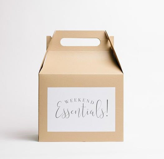 Mariage - Weekend Essentials Gable Box (1), Wedding Welcome Box, Kraft Box, Favor Box, Wedding Gift Box, Hotel Box, Guest Gift