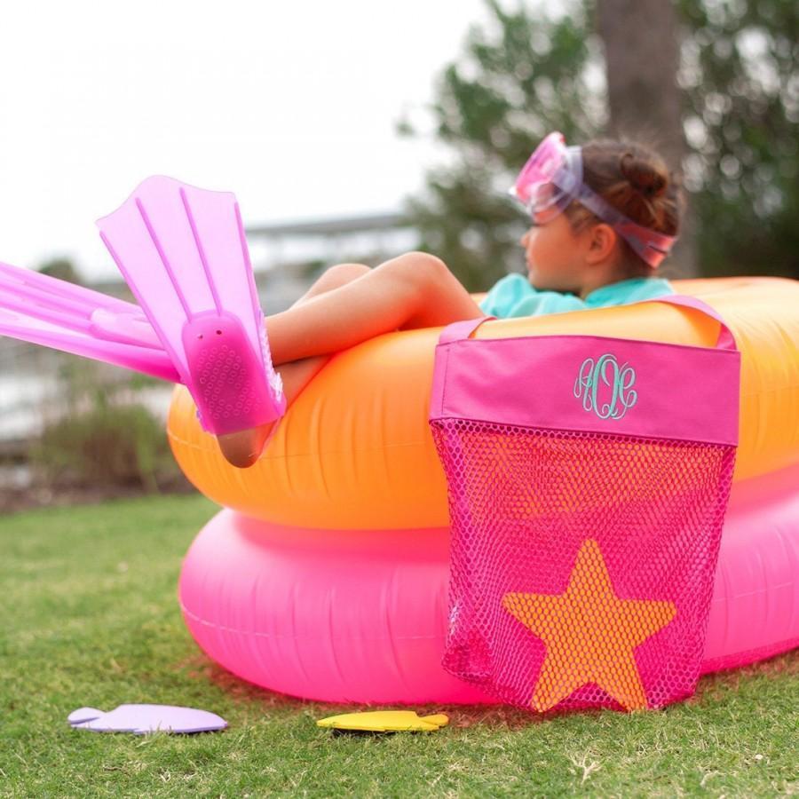 Mariage - Personalized Kids Mesh Tote, Monogrammed Kids Mesh Tote Bag, Personalized Shell Beach Bag, Mesh Tote