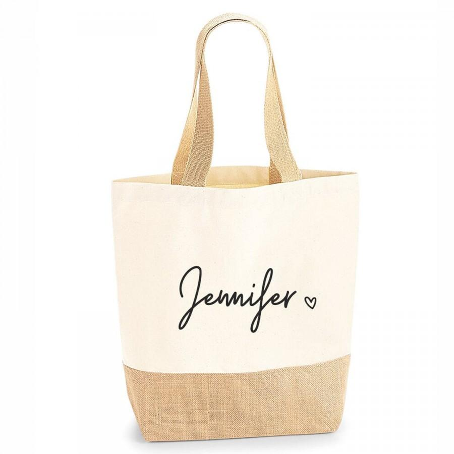 Mariage - Personalised Large Tote Bag, Large Shopper Bag, Uni Bag, Personalised Jute Shopping Bag, Large Book Bag, Custom Printed Bag, Large Bag