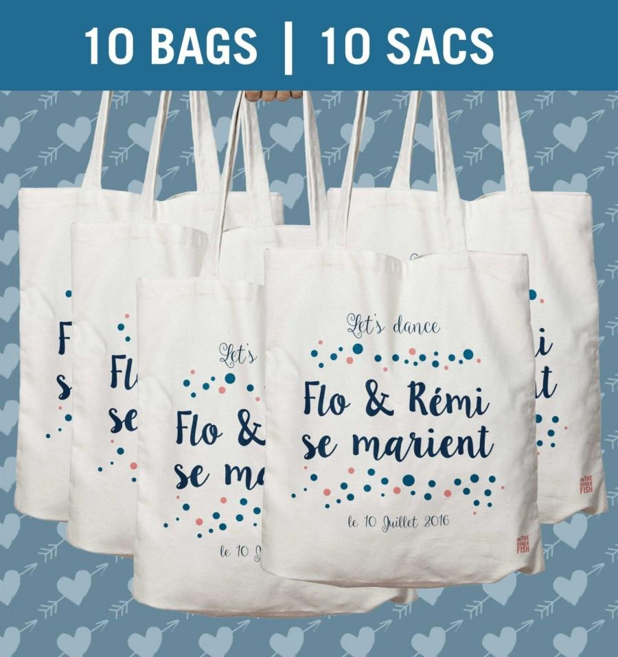 زفاف - Bulk of 10 bags, Tote bag personnalized, Wedding gift Bag, Bridesmaid Tote, wedding bag, wedding tote, bridesmaid, Printed Cotton Tote Bag