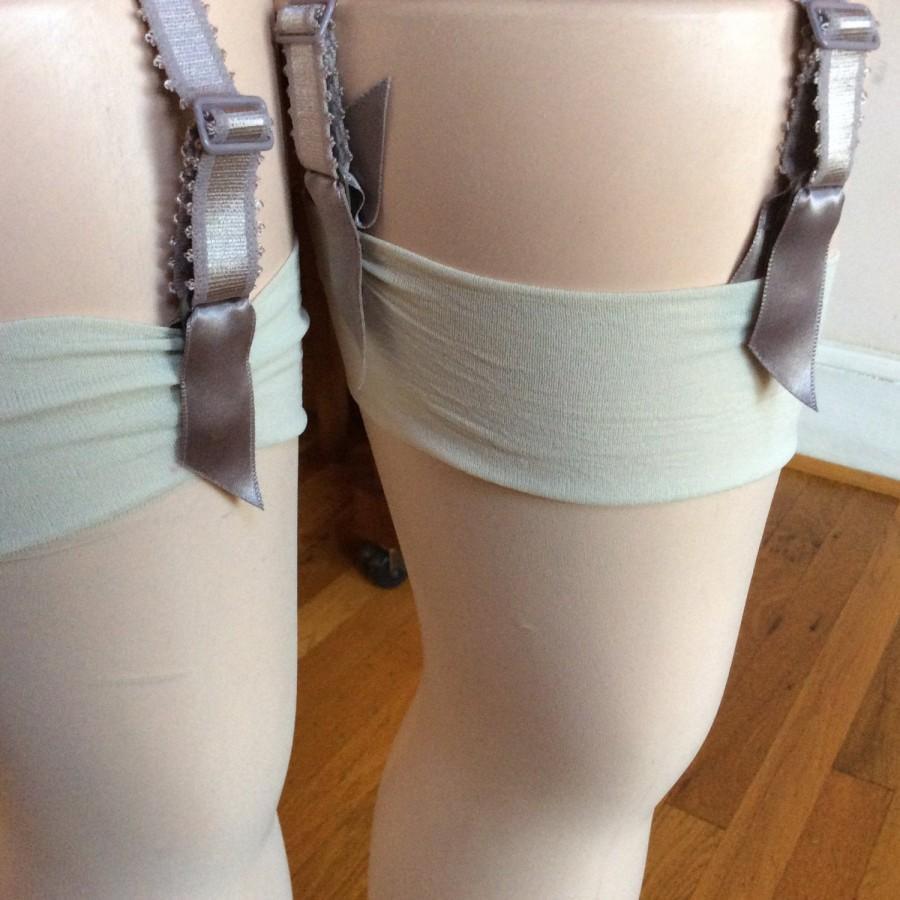 Mariage - Cream Stockings for Garter Belt,2pc Bridal Garter Belt, Sheer Plain Thigh High, Joanna Trojer Pantyhose, Made In Italy, Sexy White Ecru