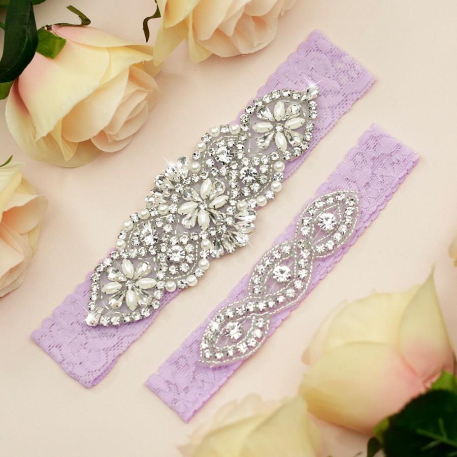Hochzeit - Lavender Wedding Garter Set, Lavender Bridal Garter, Wedding Garter Belt, Bridal Garter, Rhinestone Garter Set, Light Purple Garter