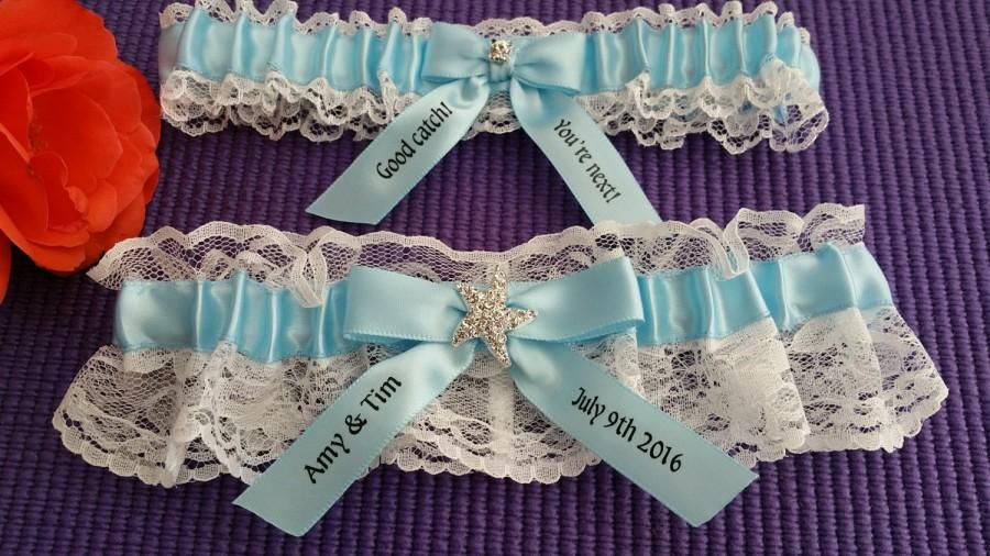 Wedding - White Lace garter set, light blue satin, Star fish Rhinestone, personalized satin, Bridal garter, Beach wedding, Custom garter set