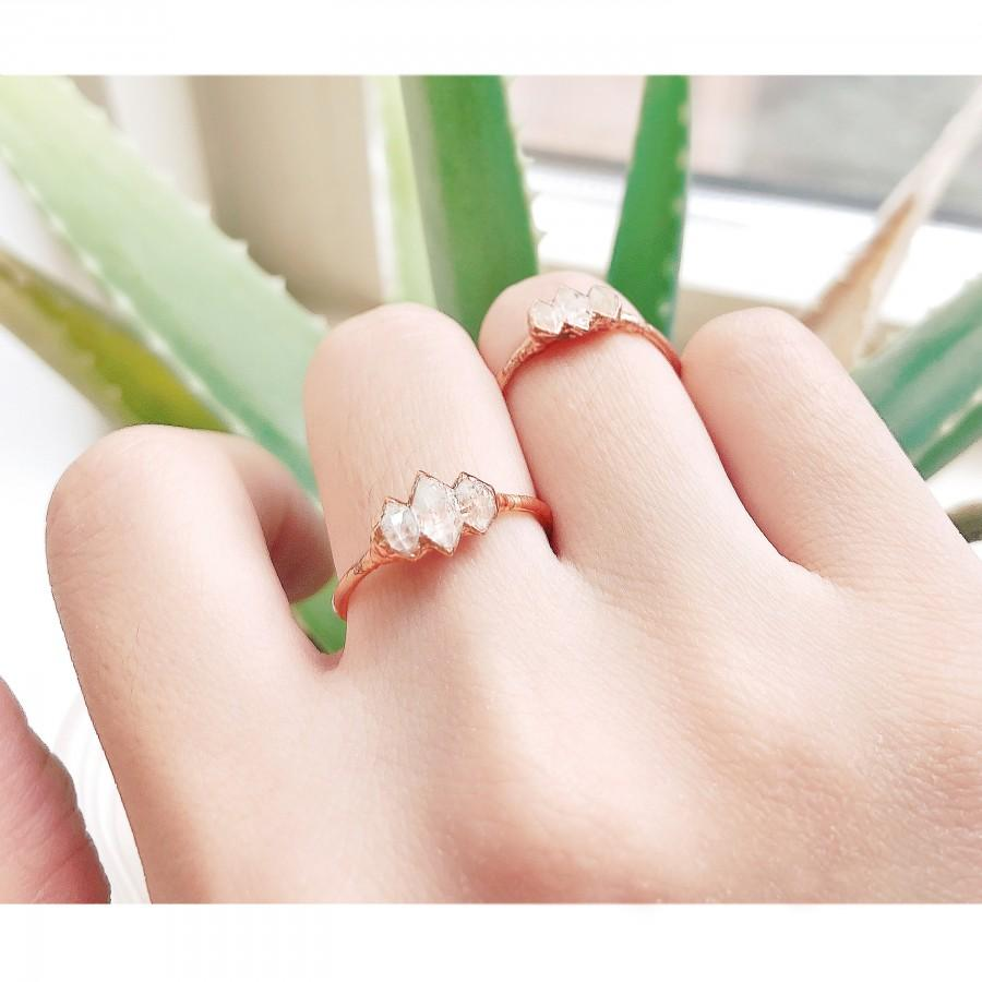 Mariage - Raw Diamond Ring For Woman, Raw Herkimer Diamond Triple Ring, Rough diamond ring, Raw Crystal Ring, Engagement Ring, Raw Stone Ring