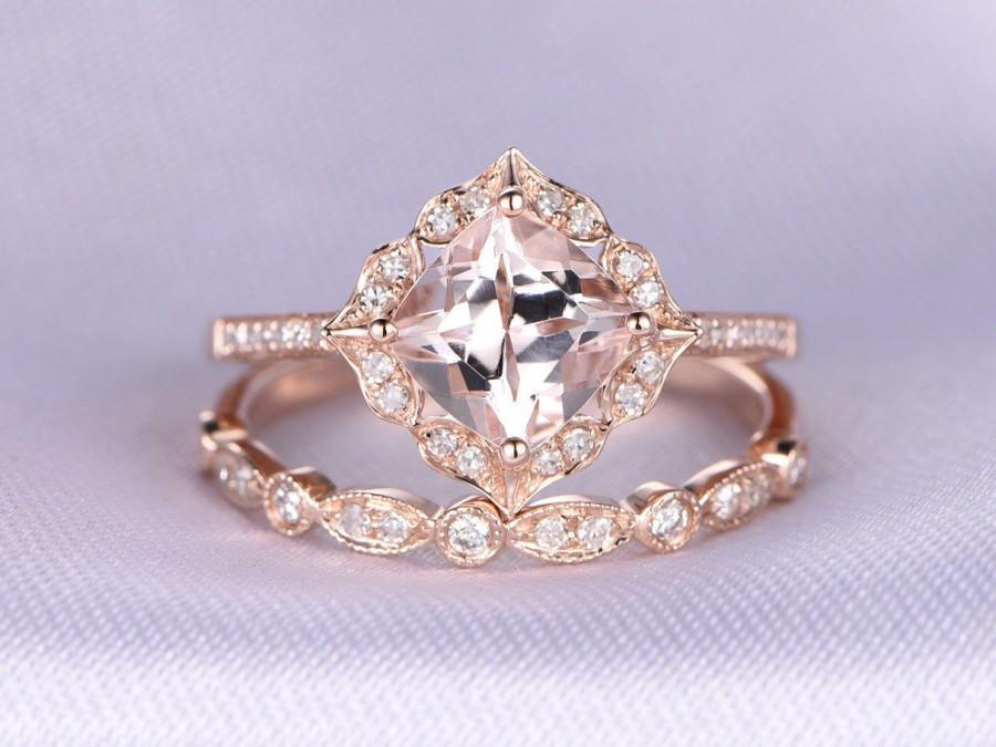 Свадьба - 2pcs Rose Gold Ring Set Morganite Engagement ring 14k Rose gold Art Deco diamond Matching Band 7mm Cushion cut Personalized for her/him