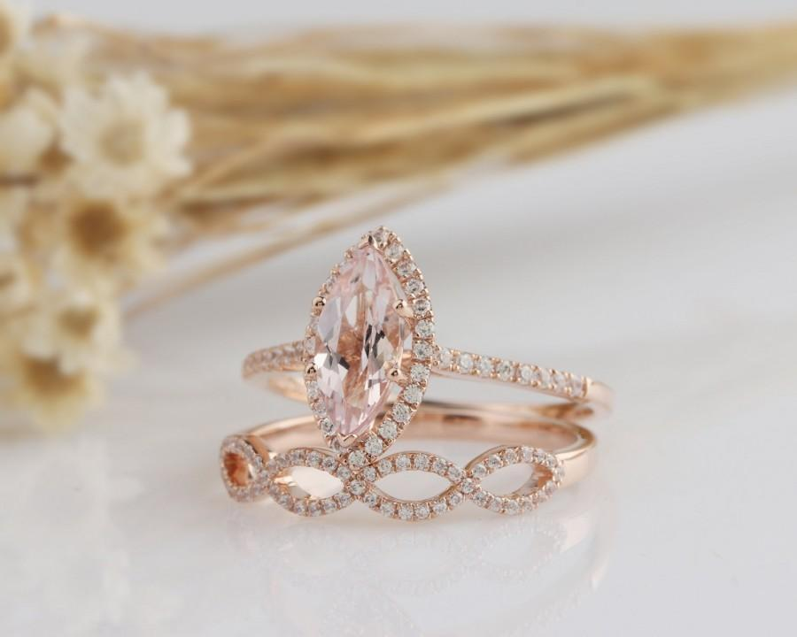 Wedding - 14K Solid Gold Ring/1.17CT Marquise Cut Natural Morganite Wedding Ring/ Engagement Ring/Halo Style Ring/Anniversary Ring/Rose Gold Ring