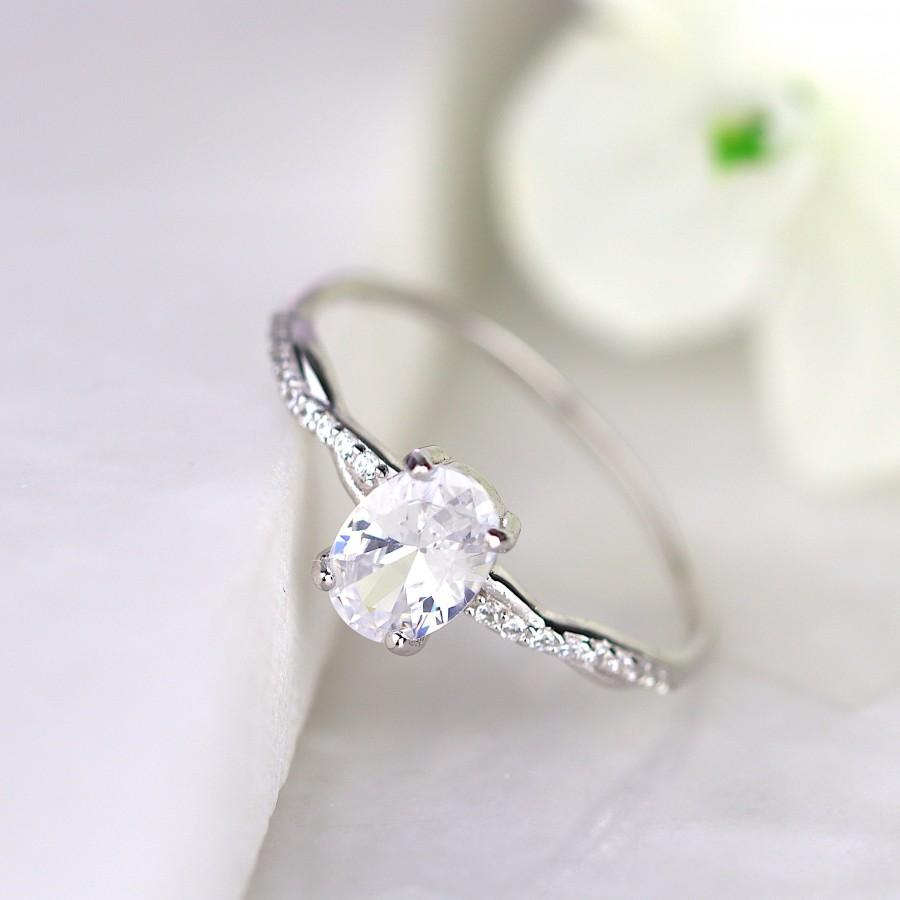Wedding - Oval Cut Solitaire Petite Twisted Vine Silver Engagement Ring Promise Ring Wedding Jewelry Valentine Gift for Her