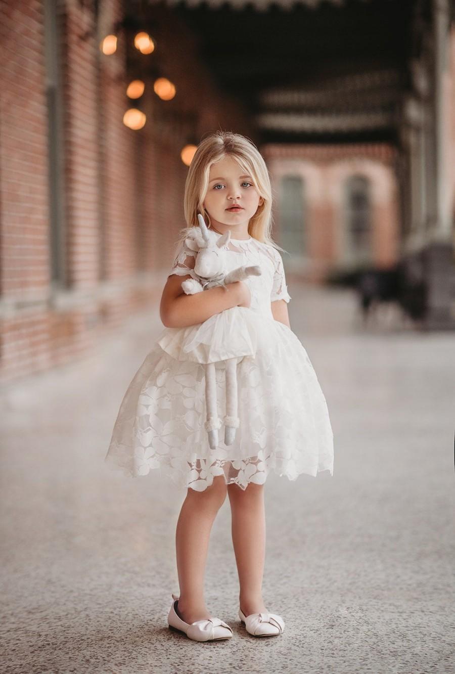 Wedding - vintage length dress,flower girl dress,white flower girl dress,white tulle dress,toddler princess dress,portrait dress,beach wedding dress