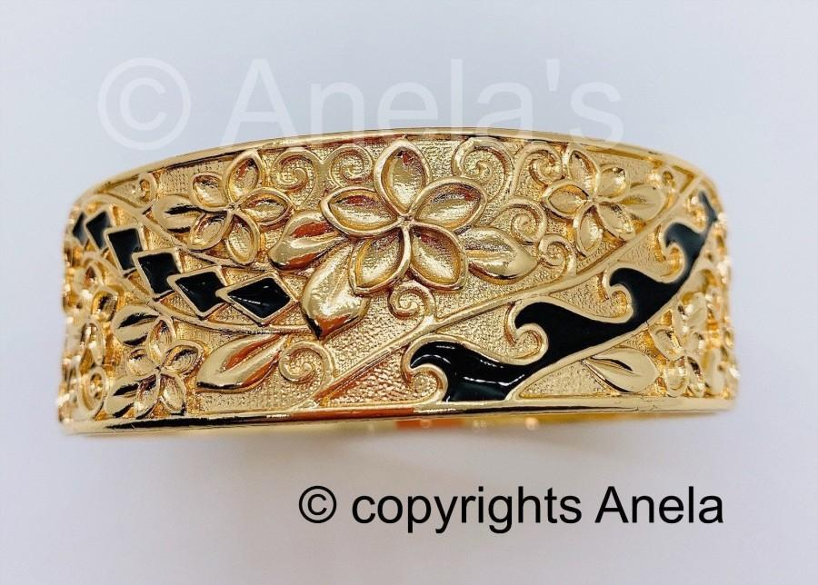 Wedding - 25MM Hawaiian Hamilton Gold Bracelet (25mm) Black Enameled with Hawaiian flower