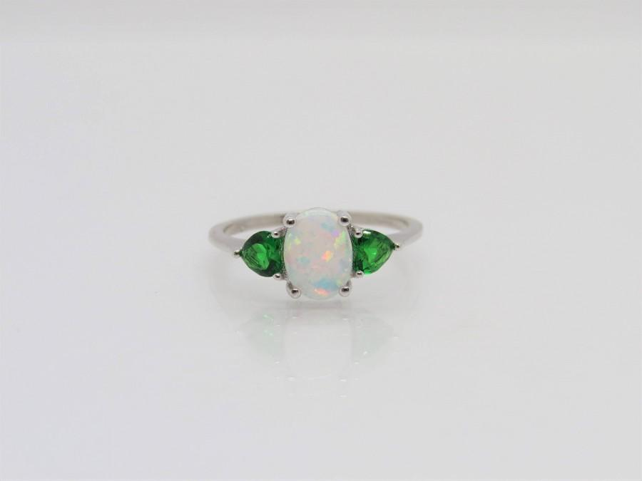 Wedding - Vintage Sterling Silver White Opal & Emerald Ring Size 8