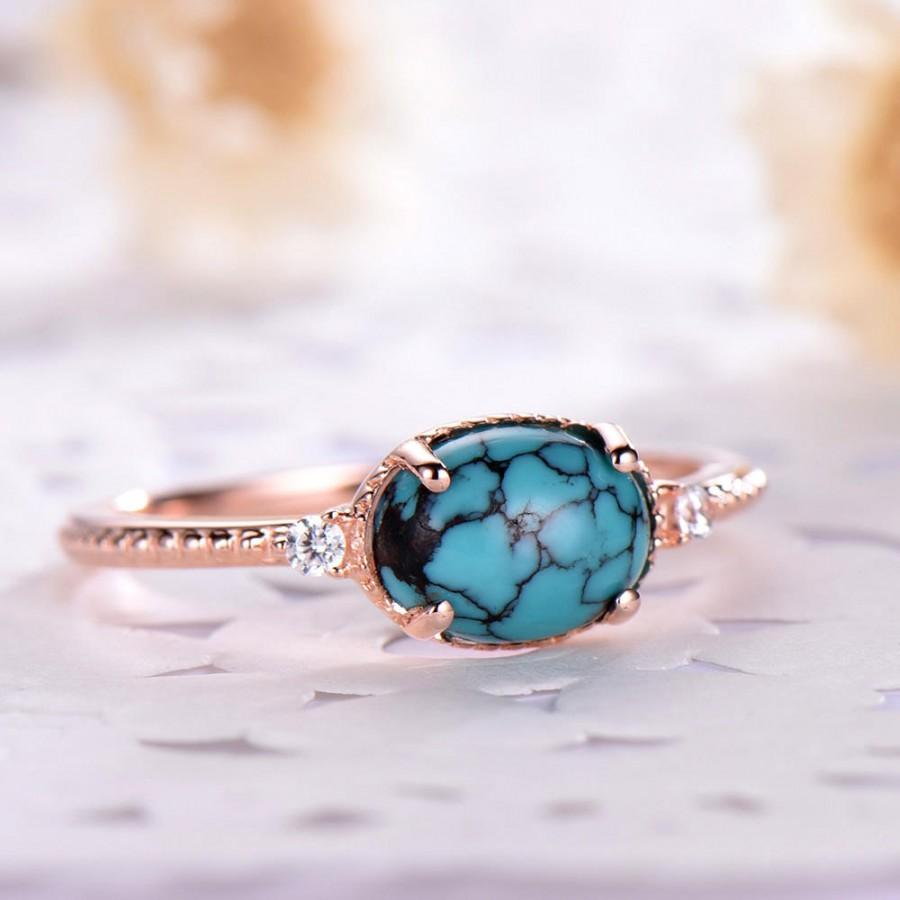 Wedding - Blue Black Turquoise Engagement Ring 14k 18k Rose Gold Unique CZ Diamond Wedding 925 Sterling Silver Solitaire Bridal Anniversary Gift Oval