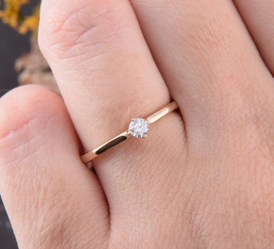 Mariage - Promise ring gold, Yellow gold ring, Engagement ring, Solitaire ring, Women promise ring, Promise ring for her, Tiny ring, Dainty ring