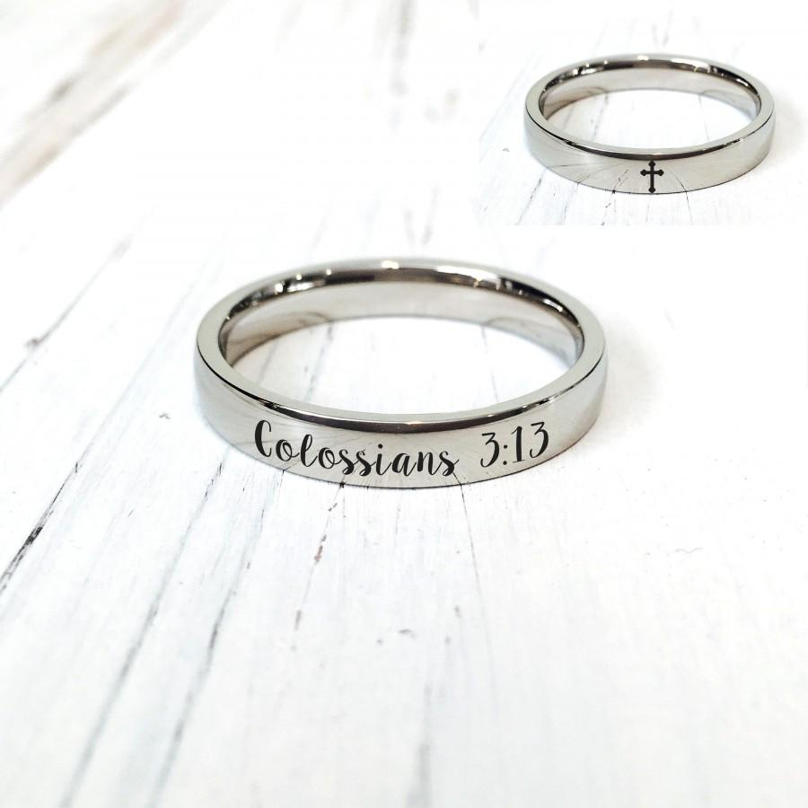 Hochzeit - Bible Verse Colossians 3:13 Ring/Cross Ring(4mm and 6mm width)/(US size 4-16)/engraving inside sold separately