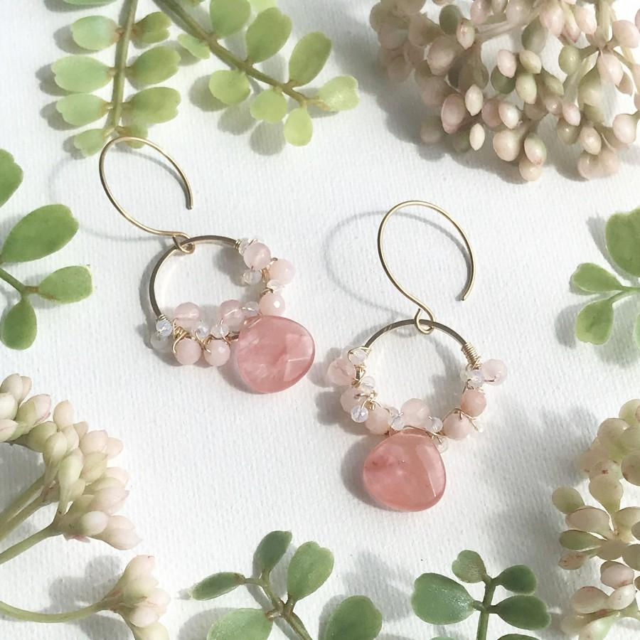 Mariage - Pink Gemstone Earrings, Rose Quartz Earrings, Cherry Quartz Earrings, Morganite Earrings, Gemstone Earrings, Made in Hawaii, Gift under 35