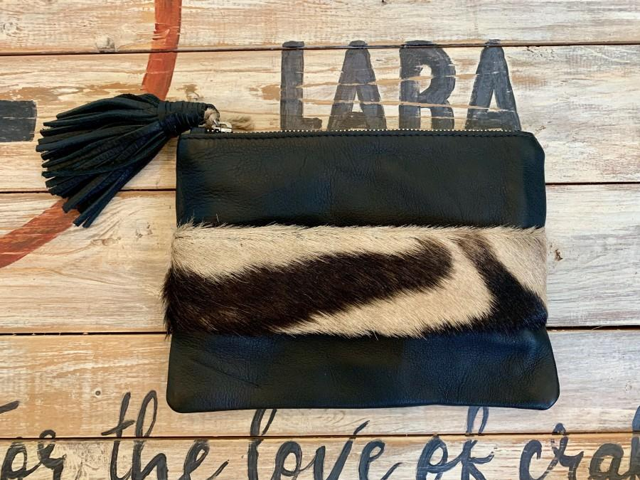 Mariage - Lara Leather Clutch with Zebra Hide Hand Strap