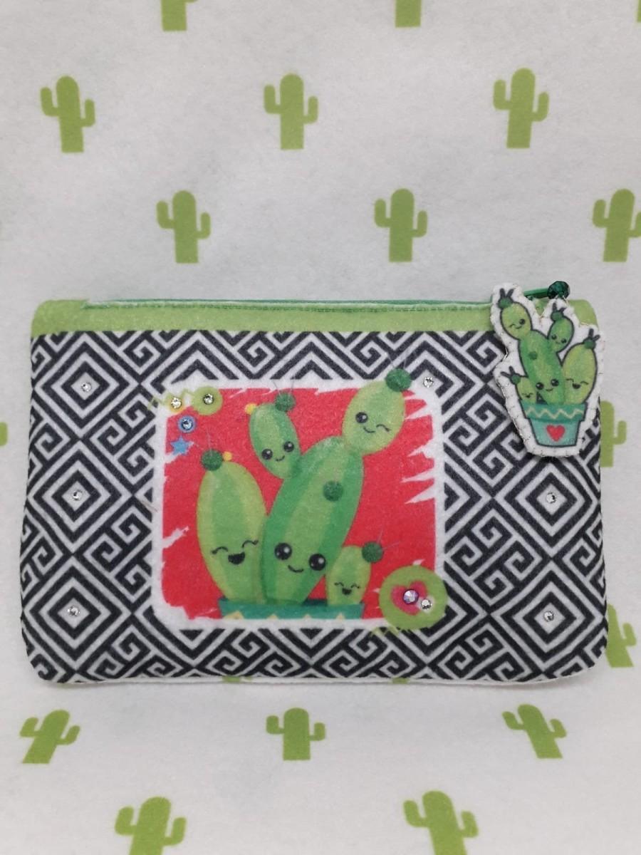 Mariage - Mini pochette in feltro con cactus