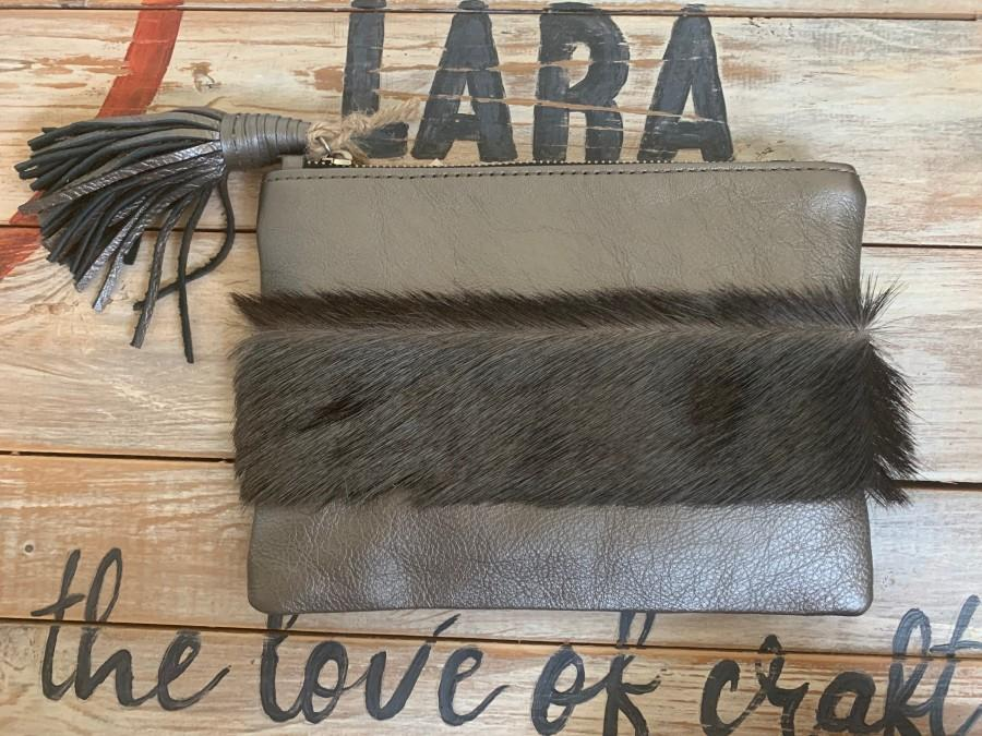 Wedding - Lara Leather Clutch with Wildebeest Hide Hand Strap