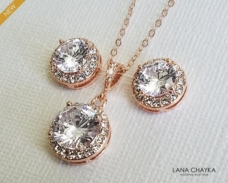 Wedding - Rose Gold Bridal Jewelry Set, Cubic Zirconia Halo Earrings&Necklace Set, Pink Gold Wedding Jewelry Set, Earring Studs Pendant Jewelry Set