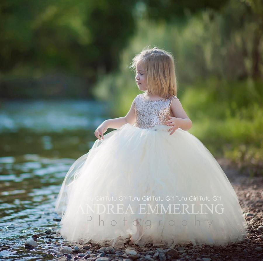 Hochzeit - Ivory Champagne Flower Girl Dress Ivory Champagne Junior Bridesmaid Dress Sequin Flowergirl Special Occasion Dress, Toddler, Kids, Teen