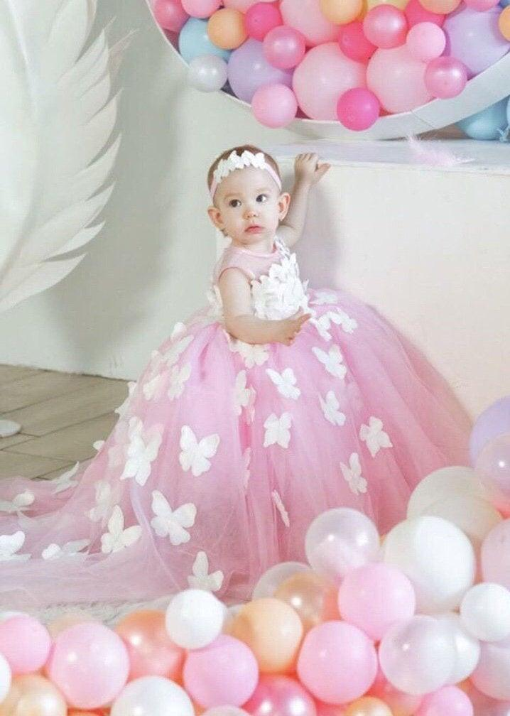 Wedding - First birthday pink gown with butterflies for baby girl, dress for 1st birthday party, wedding theme butterfly, dress with train for girls