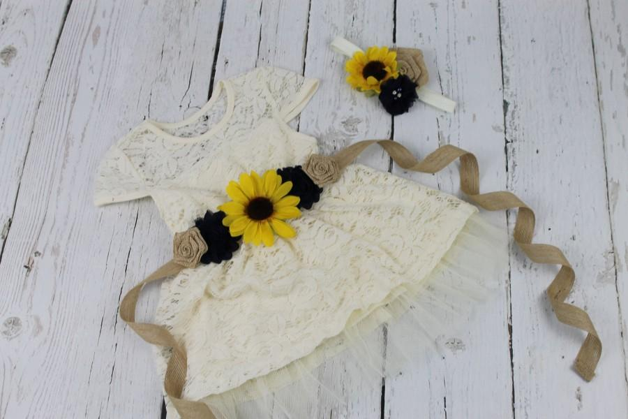 Hochzeit - Rustic Flower Girl Dress Navy Sunflower Burlap Sash Ivory Flower Girl Dress