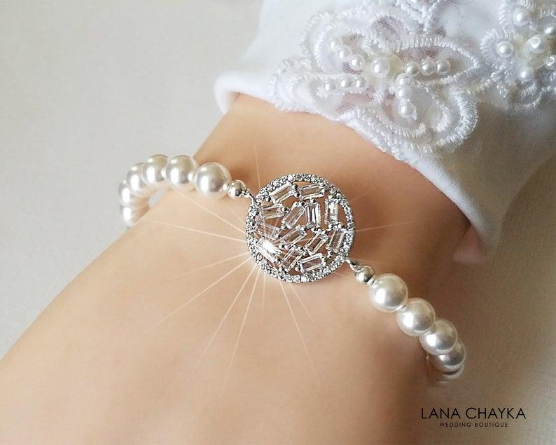 Wedding - Pearl Bridal Bracelet, White Pearl Silver Bracelet, Swarovski Pearl Cubic Zirconia Bracelet Bridal Jewelry Wedding Jewelry Bridal Party Gift