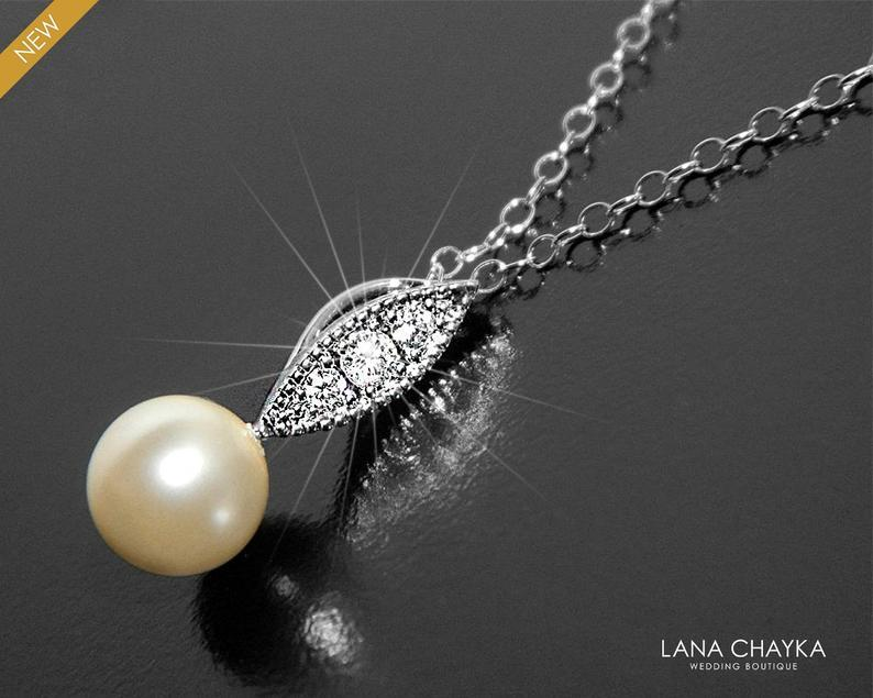 Wedding - Pearl Bridal Necklace, Swarovski 8mm Ivory or White Drop Pearl Necklace, Single Pearl Silver Necklace, Bridal Pearl Jewelry, Pearl Pendant