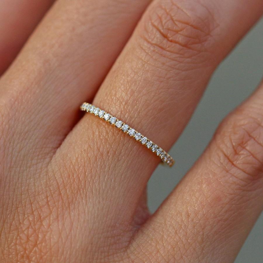 Wedding - 14k Yellow Gold Wedding Band Womens Half Eternity Band, Engagement Ring Band, Gold Ring, Simulated Diamond Wedding Ring, Anniversary Ring