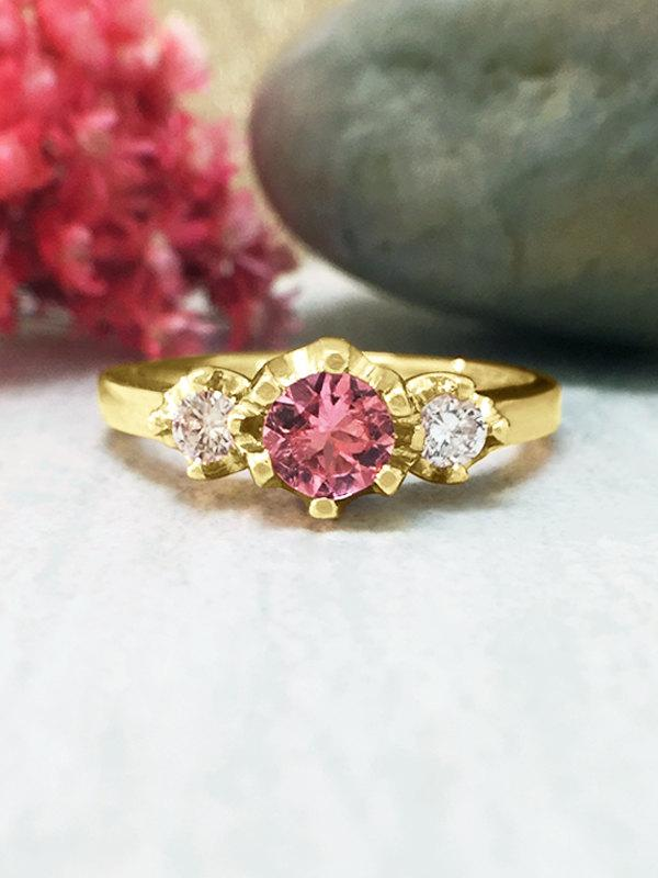 Wedding - 5x5MM Pink Tourmaline and Diamond Ring