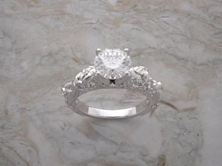 Mariage - Gold Engagement Ring Organic Floral Design With Setting Diamond Accents Made In The USA