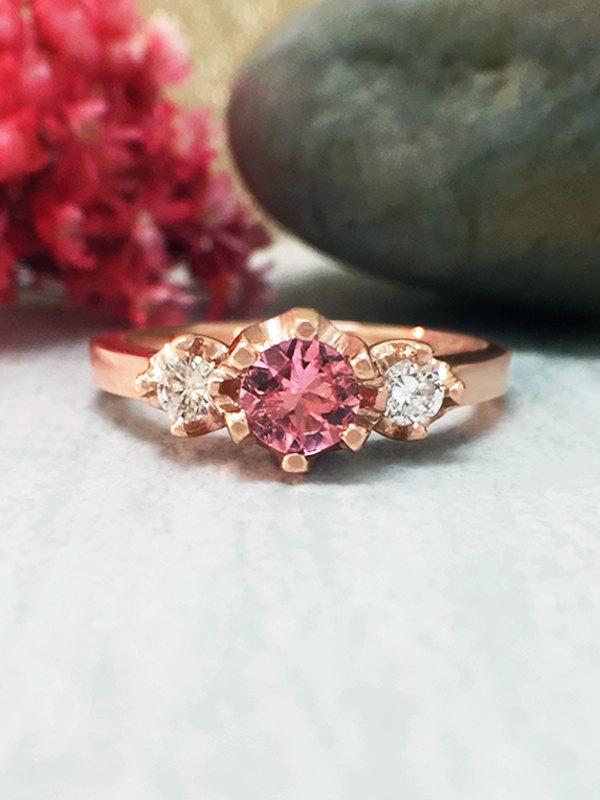 Mariage - 5x5MM Pink Tourmaline and Diamond Ring