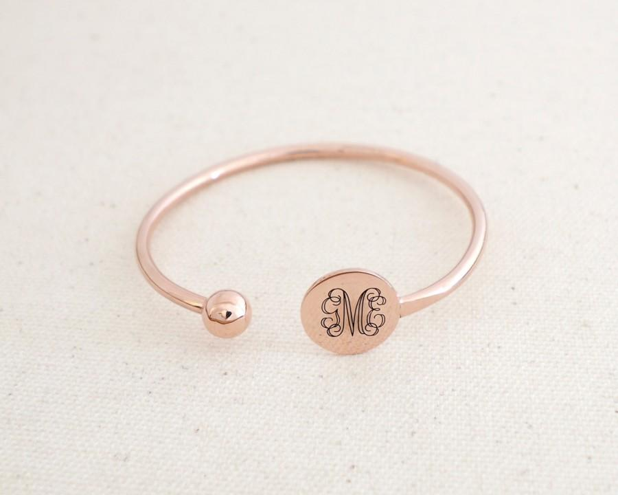 Mariage - Adjustable Monogram Bangle • Personalized Monogram Cuff • Bridesmaid Gifts • Bridal Jewelry • Initials Bangle • Gift for Her • BM30