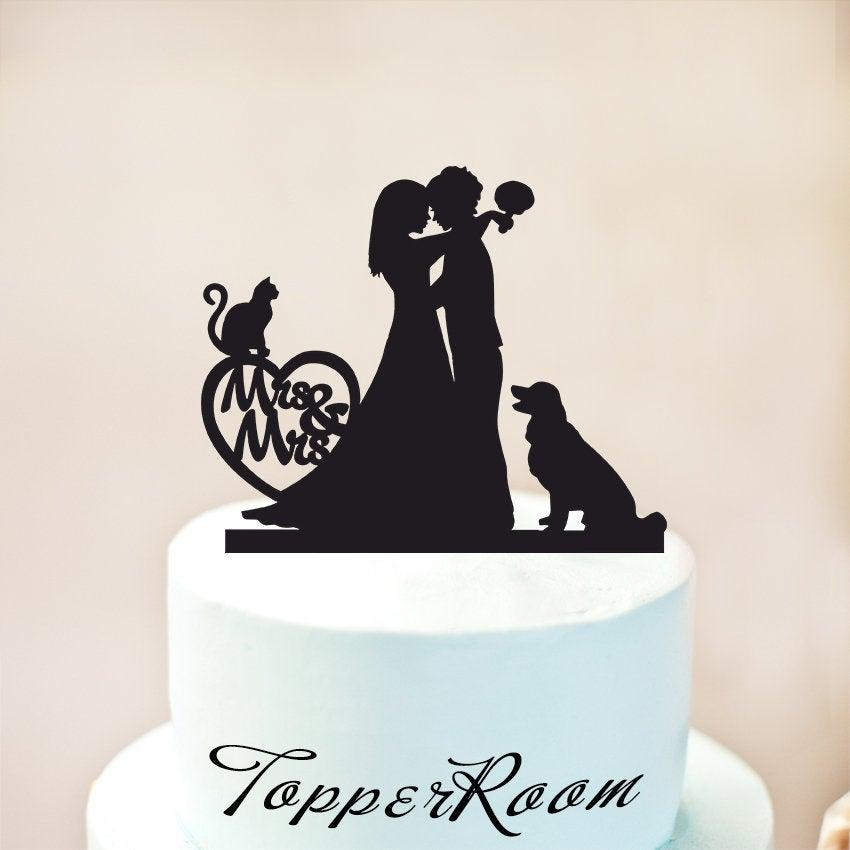 زفاف - Mrs and Mrs Wedding Cake Topper,Same Sex Cake Topper,lesbian Cake Topper,Personalized Cake Topper with Dog,lesbian silhouette (1232)
