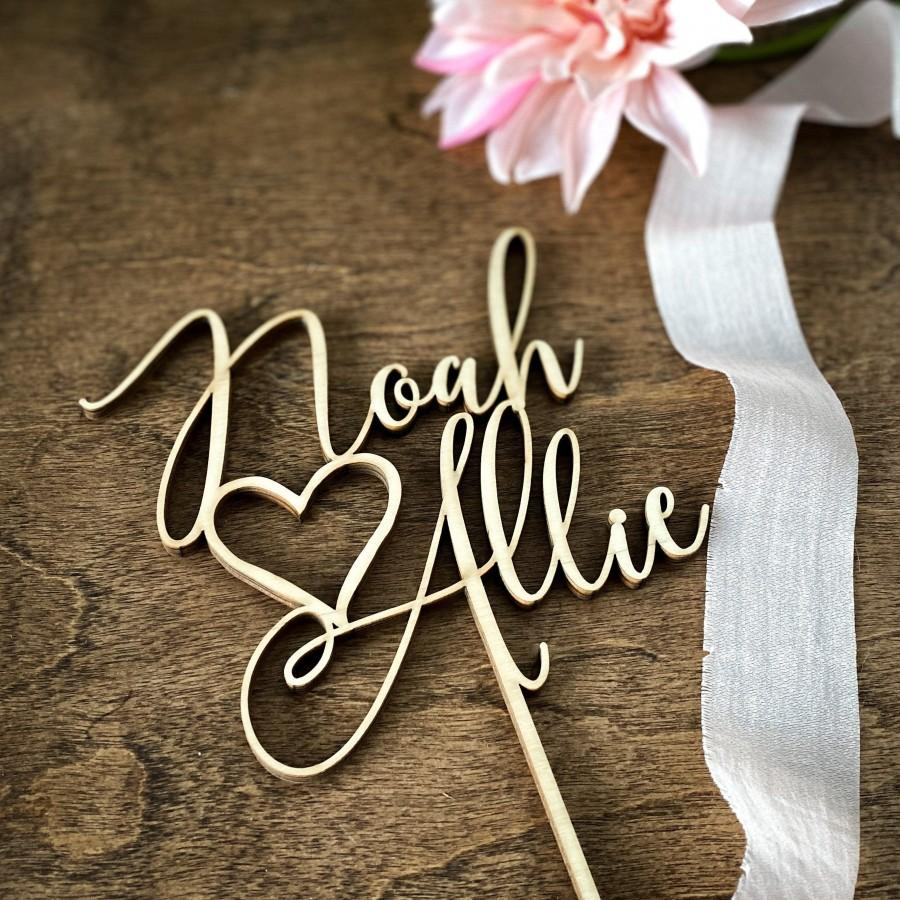 Mariage - Personalized Cake Topper, Custom Name Cake Topper, Script Cake Topper, Custom Wood Cake Topper, Engagement Cake Topper, Rustic Wedding Decor
