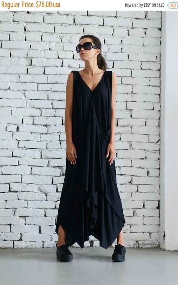 زفاف - 20% OFF Maxi Black Dress/Plus Size Dress/Casual Summer Dress/Asymmetric Long Tunic/Oversize Tunic Dress/Plus Size Maxi Dress by METAMORPHOZA
