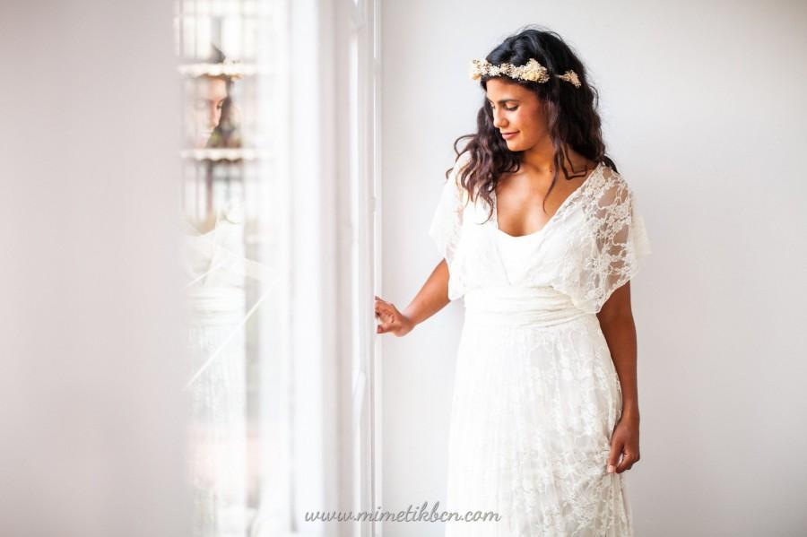 Hochzeit - Grecian wedding dress, Grecian goddess dress, Soft lace wedding dress, Wedding dress greece, Grecian dress lace, White lace dress