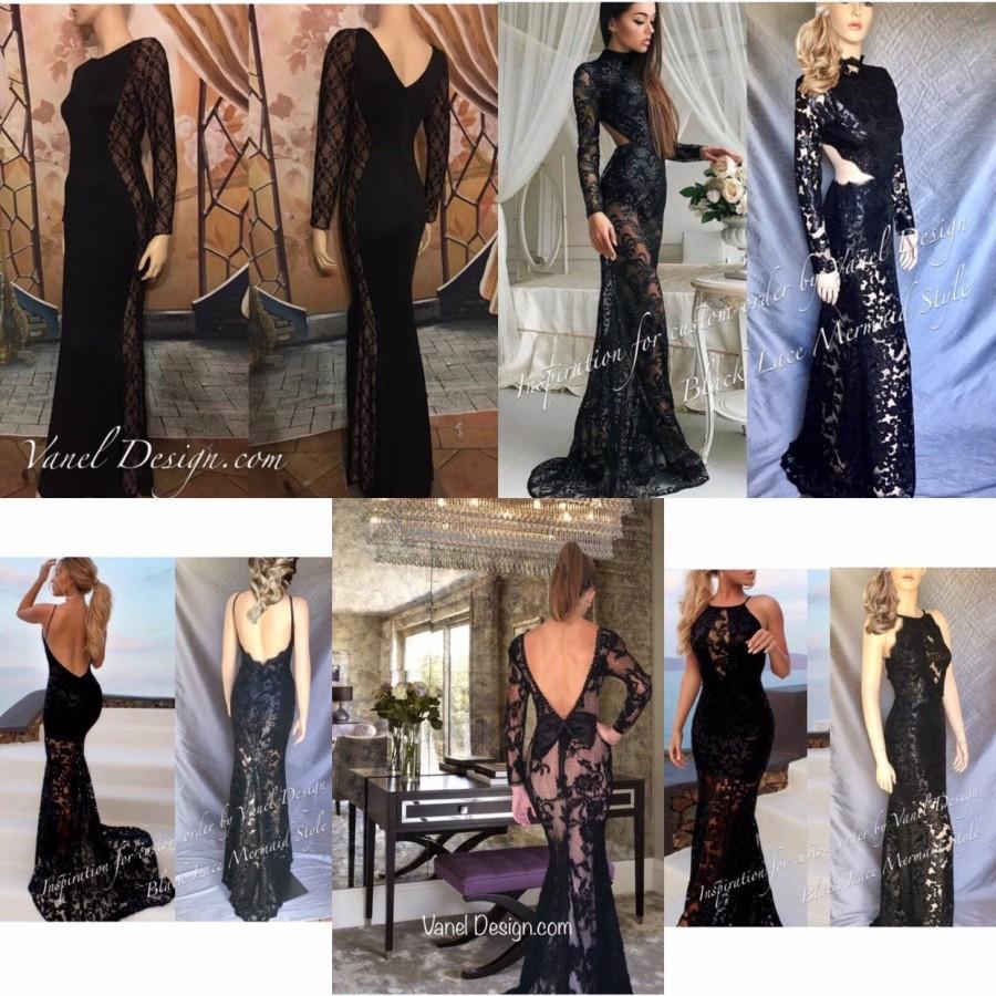 Hochzeit - Mermaid Bridesmaid Dress, Floor Length Prom, Wedding Dress, Bridal Gown Black Lace Dress, Formal Cocktail, Elegant, Party Dress Evening Gown