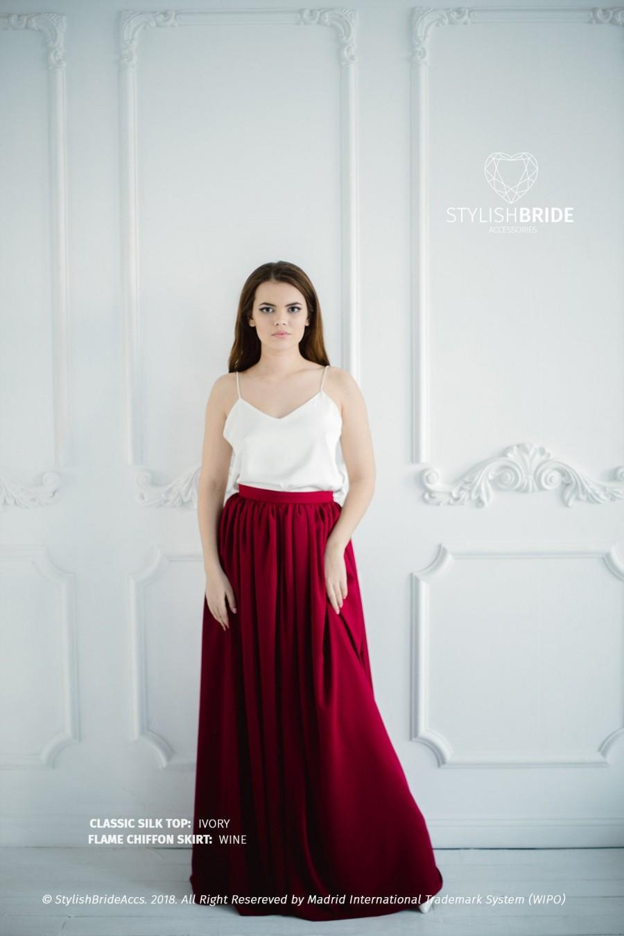 Hochzeit - Wine Chiffon Bridesmaid Simple Flame Skirt and Ivory Simple Top, Bridesmaids Chiffon Skirts, Wine Chiffon Skirt Plus Size