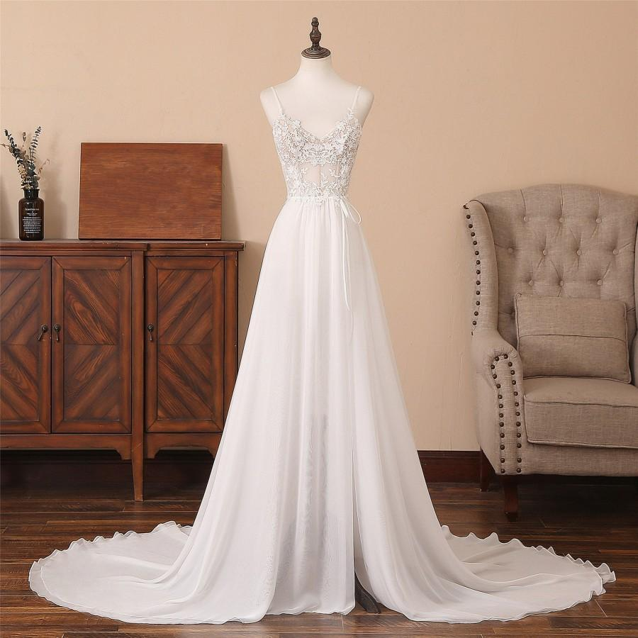 Mariage - Chapel Train Wedding Dress White Spaghetti Straps Sweetheart Neckline Bridal Dress Backless Party Dress High Split Front Evening Party dress