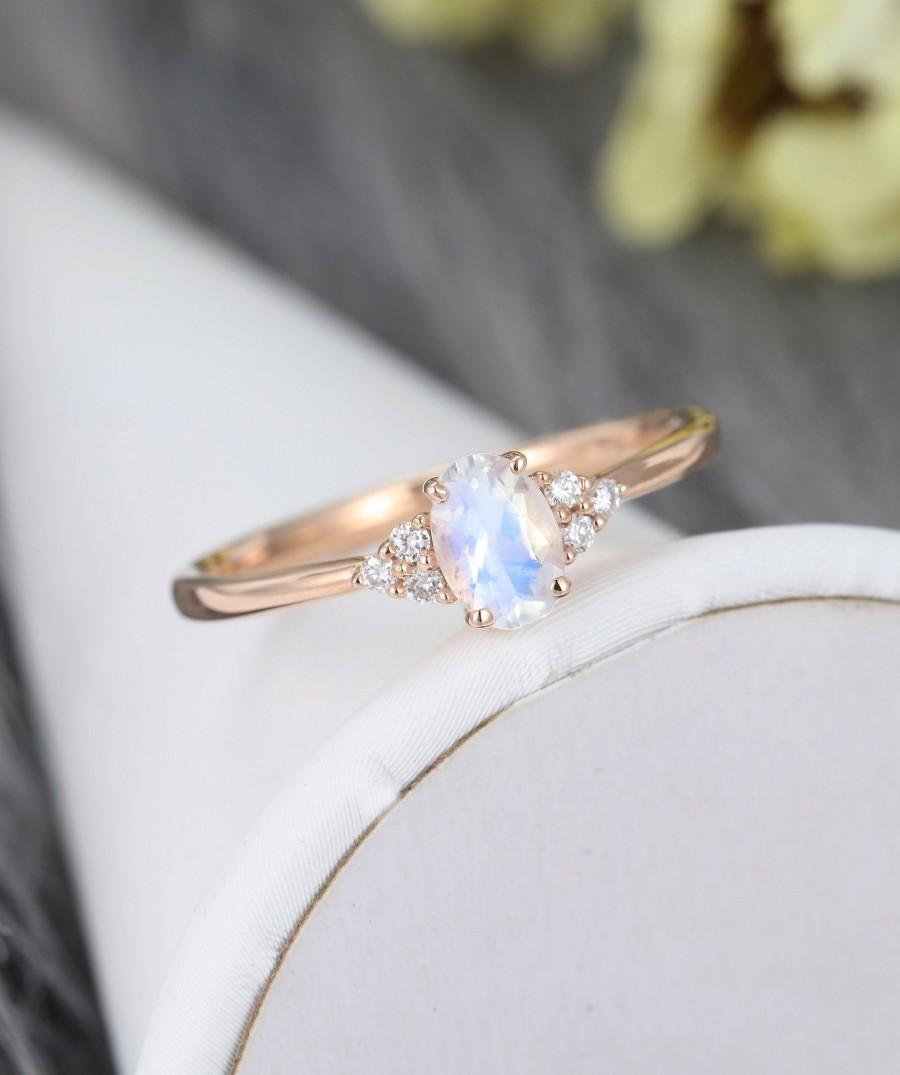 Hochzeit - Moonstone engagement ring vintage Diamond cluster ring rose gold engagement ring for women Unique oval cut wedding Bridal Anniversary gift