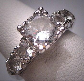 Wedding - Antique White Sapphire Wedding Ring Vintage Art Deco Engagement