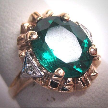 Mariage - Antique Emerald Paste Diamond Wedding Ring Gold Vintage Art Deco 1930s