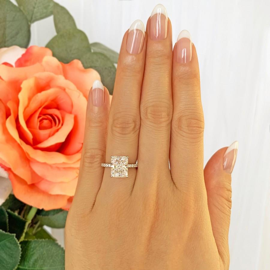 Hochzeit - 3.75 ctw Radiant Accented Solitaire Engagement Ring, Half Eternity Band, Bridal Wedding Ring, Man Made Diamond Simulants, Sterling Silver