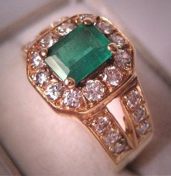 زفاف - Estate Vintage Emerald Diamond Ring 14K Gold Wedding Band