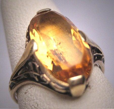 زفاف - Antique Golden Canary Citrine Ring Victorian Art Deco Wedding c.1900 Engagement