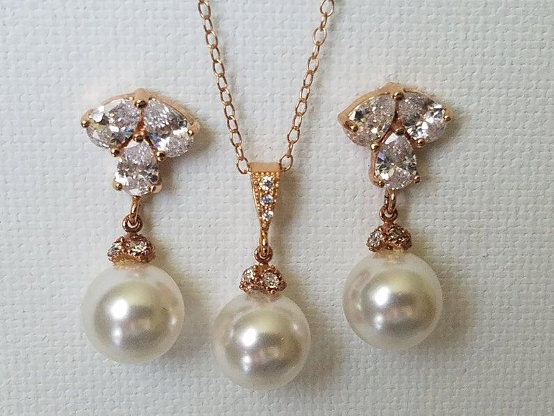 Wedding - Rose Gold Pearl Jewelry Set, Swarovski White Pearl Drop Earrings&Necklace Set, Rose Gold Wedding Jewelry Set, Pink Gold Pearl Bridal Jewelry