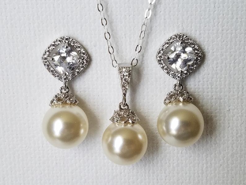 Wedding - Bridal Pearl Jewelry Set, Swarovski Ivory Pearl Earrings&Necklace Set, Pearl Drop Silver Bridal Set, Wedding Earrings Pendant Jewelry Set