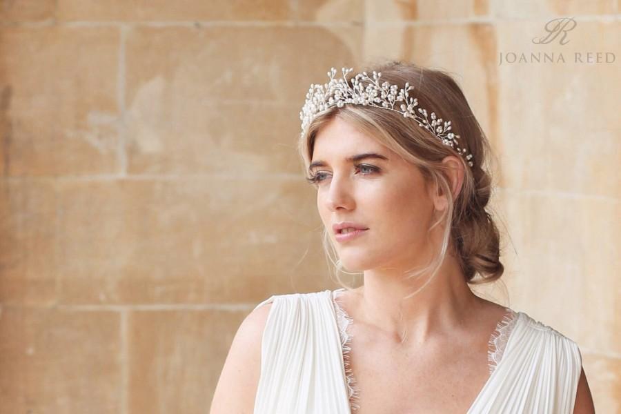 Wedding - Bridal headband, classic bridal tiara, bridal hair vine, bridal headdress, bridal crown, bridal flower crown, headpiece for bride