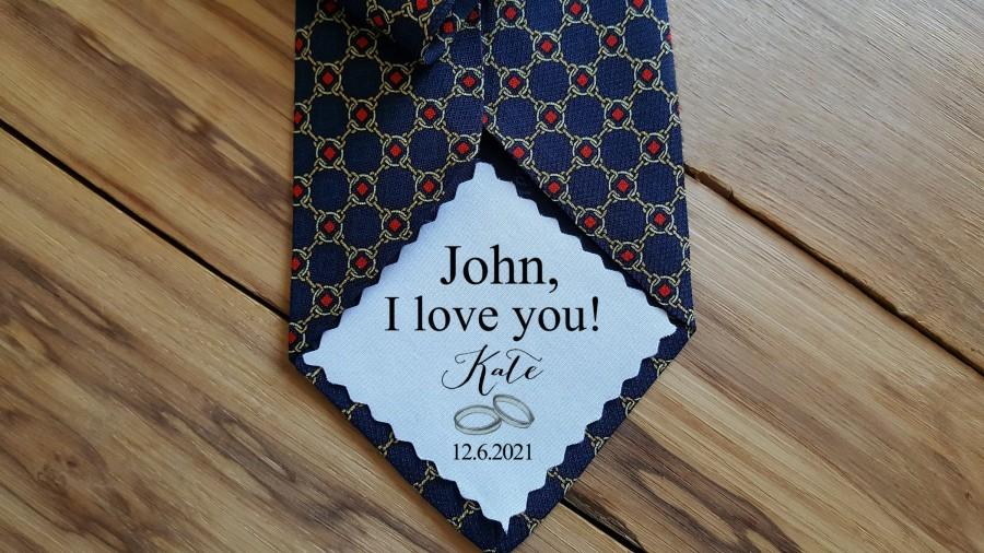 Hochzeit - Groom Tie patch, Suit Label, Personalized Patch, Father of the Groom, Custom, something blue, iron on tie patch